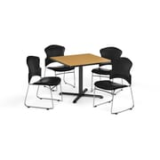 "OFM 36"" Square Laminate Multi-Purpose X-Series Table with Four Chairs, Oak Table/Black Chair (PKG-BRK-066-0020)"