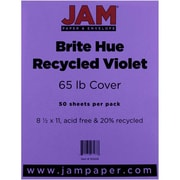 "JAM Paper® 65 lb. 8 1/2"" x 11"" Brite Hue Recycled Cover Cardstock, Violet, 50 Sheets/Pack"