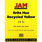 "JAM Paper® 24 lb. 8 1/2"" x 11"" Brite Hue Recycled Paper, Yellow, 100 Sheets/Pack"