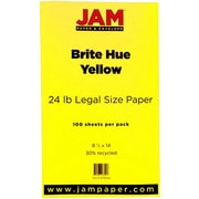 "JAM Paper® 24 lb.. Brite Hue Recycled Legal Paper, 8 1/2"" x 14"", Yellow, 100/Pack"