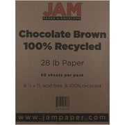 "JAM Paper® 28 lb. 8 1/2"" x 11"" 100% Recycled Paper, Chocolate Brown, 50 Sheets/Pack"