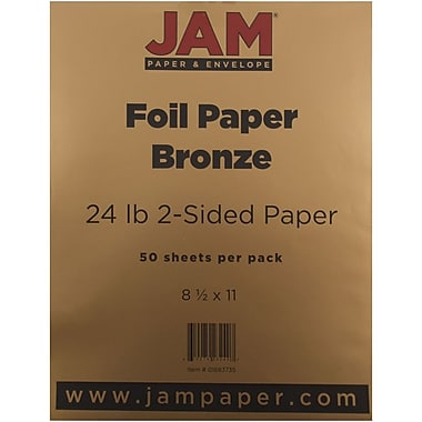 JAM Paper® Foil Paper 2-Sided, 8.5 x 11, 24lb Bronze, 50/pack (1683735)