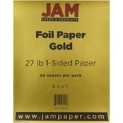"JAM Paper® 8 1/2"" x 11"" 1-Sided Foil Paper, Gold, 50 Sheets/Pack"