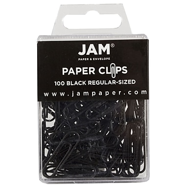 JAM Paper® Regular Colored Paper Clips, Black, 100/Box