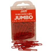 JAM Paper® Jumbo Colored Paper Clips, Red, 75/Pack
