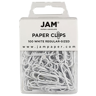 JAM Paper® Regular Colored Paper Clips, White, 100/Box