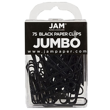 JAM Paper® Colored Jumbo Paper Clips, Large, Black Paperclips, 75/pack (2184933)