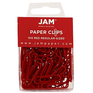 JAM Paper® Regular Colored Paper Clips, Red, 100/Box
