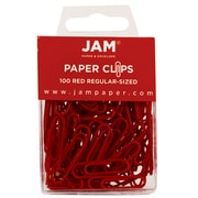 JAM Paper® Colored Standard Paper Clips, Small, Red Paperclips, 100/pack (2185200)