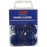 JAM Paper® Circular Colored Papercloops, Dark Blue Round Paper Clips, 50/pack (2187134)
