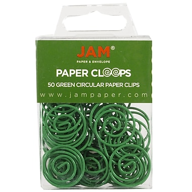 JAM Paper® Circular Colored Papercloops, Green Round Paper Clips, 50/pack (2187135)
