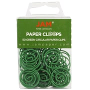 JAM Paper® Circular Colored Paper Clips, Green, 50/Box