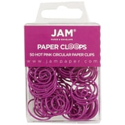 JAM Paper® Circular Colored Paper Clips, Hot Pink, 50/Box