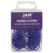 JAM Paper® Circular Colored Paper Clips, Purple, 50/Box