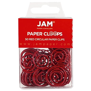 JAM Paper® Circular Colored Papercloops, Red Round Paper Clips, 50/pack (2187138)