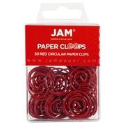 JAM Paper® Circular Colored Paper Clips, Red, 50/Box