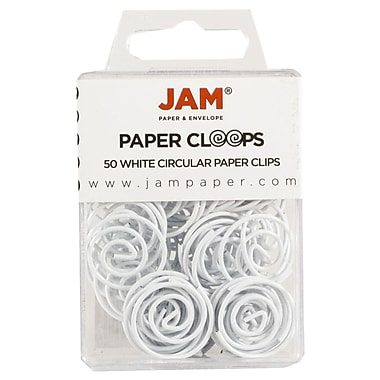 JAM Paper® Circular Colored Papercloops, White Round Paper Clips, 50/pack (2187139)