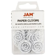 JAM Paper® Circular Colored Paper Clips, White, 50/Box
