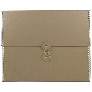 JAM Paper® Kraft Chipboard Portfolio, Button and String Tie Closure, 9.5 x 12 x 2.75, Recycled Brown Kraft, 1/pk (3536847)
