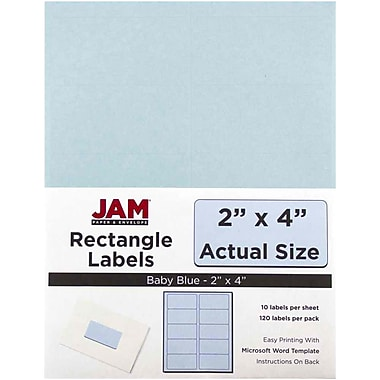 JAM Paper® Mailing Address Labels, 2 x 4, Baby Blue, 120/pack (4052896)