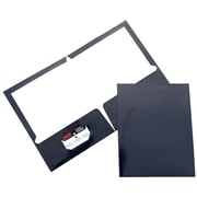 JAM Paper® Two Pocket Glossy Folder, Navy, 6/Pack