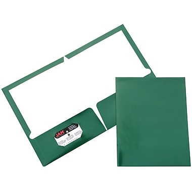JAM Paper® Two Pocket Glossy Folder, Green, Sold Individually
