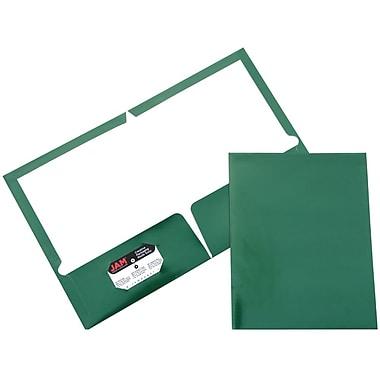 JAM Paper® Two Pocket Glossy Folder, Green, 6/Pack
