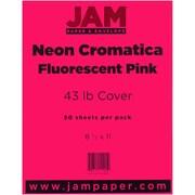 "JAM Paper® 43 lb. 8 1/2"" x 11"" Vellum Neon Cromatica Cardstock, Fluorescent Pink, 50 Sheets/Pack"