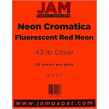 JAM Paper® Neon Cardstock, 8.5 x 11, 43lb Neon Cromatica Cover, Fluorescent Red , 50/pack (5733976)