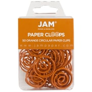 JAM Paper® Circular Colored Papercloops, Orange Round Paper Clips, 50/pack (21827540)