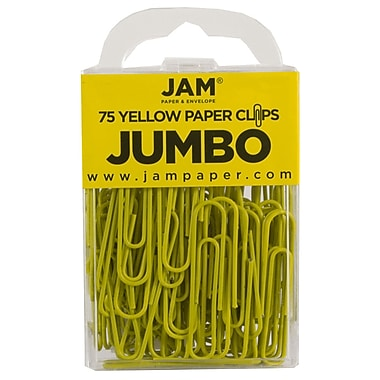 JAM Paper® Colored Jumbo Paper Clips, Large, Yellow Paperclips, 75/pack (42182236)