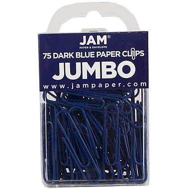 JAM Paper® Colored Jumbo Paper Clips, Large, Dark Blue Paperclips, 75/pack (42186869)