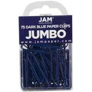 JAM Paper® Jumbo Colored Paper Clips, Dark Blue, 75/Pack