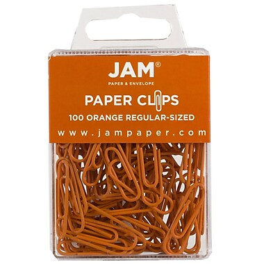 JAM Paper® Colored Standard Paper Clips, Small, Orange Paperclips, 100/pack (42186870)