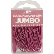 JAM Paper® Jumbo Colored Paper Clips, Pink, 75/Pack