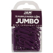 JAM Paper® Jumbo Colored Paper Clips, Purple, 75/Pack
