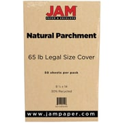 "JAM Paper® 65 lb. 8 1/2"" x 14"" Legal Cover Cardstock, Natural Parchment, 50 Sheets/Pack"