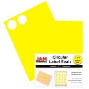 "Jam® Paper 1 1/2"" Circle Label Sticker Seal, Yellow, 24 Labels per Page, 120/Pack"
