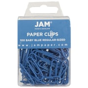 JAM Paper® Colored Standard Paper Clips, Small, Baby Blue Paperclips, 100/pack (221819033)