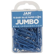 JAM Paper® Colored Jumbo Paper Clips, Large, Baby Blue Paperclips, 75/pack (221819034)