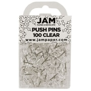 JAM Paper® Push Pins, Clear, 100/Pack