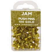 JAM Paper® Push Pins, Shiny Gold, 100/Pack