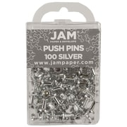 JAM Paper® Push Pins, Shiny Silver, 100/Pack