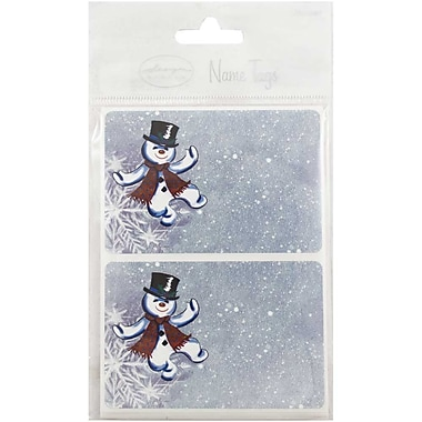 JAM Paper® Christmas Holiday Gift Label Name Tag Stickers, 2.25 x 3.5, Dancing Snowmen, 24/pack (249824365)
