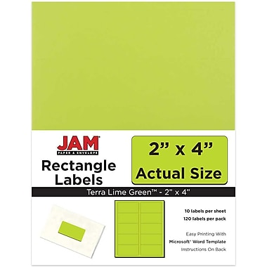 JAM Paper® Mailing Address Labels, 2 x 4, Ultra Lime Green, 120/pack (302724405)