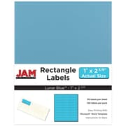 "Jam Paper 1"" x 2.63"" Inkjet/Laser Mailing Address Labels, Astrobright Lunar Blue, 4/Pack (302725762)"