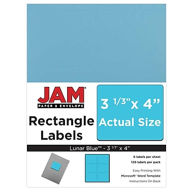 JAM Paper® Mailing Address Labels, 3 1/3 x 4, AstroBrights® Lunar Blue, 120/pack (302725770)