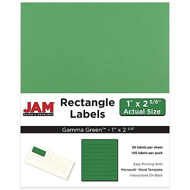 JAM Paper® Mailing Address Labels, 1 x 2 5/8, AstroBrights® Gamma Green, 120/pack (302725772)