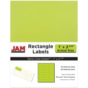"Jam Paper 1"" x 2.63"" Inkjet/Laser Mailing Address Labels, Astrobright Terra Lime Green, 4/Pack (302725778)"
