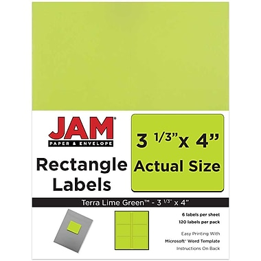 JAM Paper® Mailing Address Labels, 3 1/3 x 4, Ultra Lime Green, 120/pack (302725780)